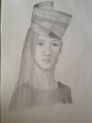 Quirky model in graphite pencil