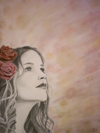 Autumn Daydream, drawing in graphite pencil and hard pastel